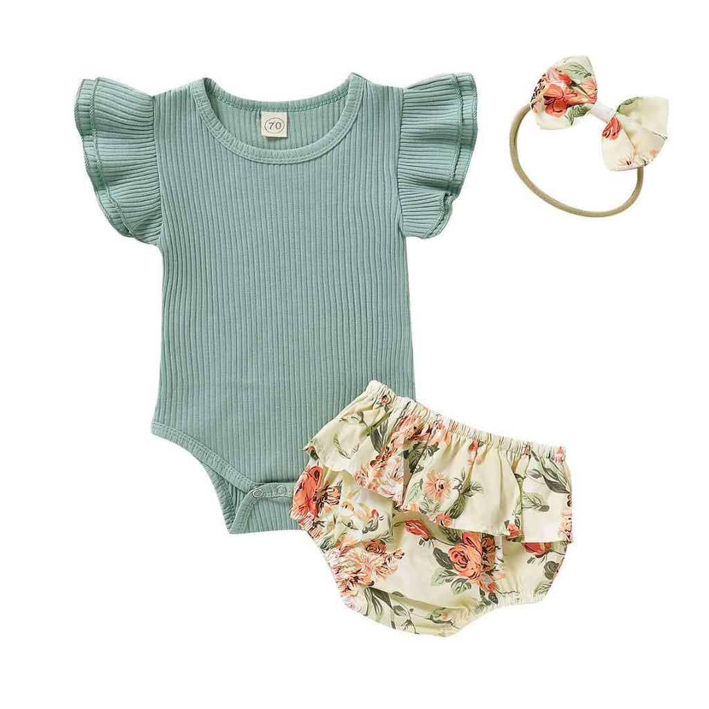 VINTAGE FLORAL  BLOOMER SET  - TEAL
