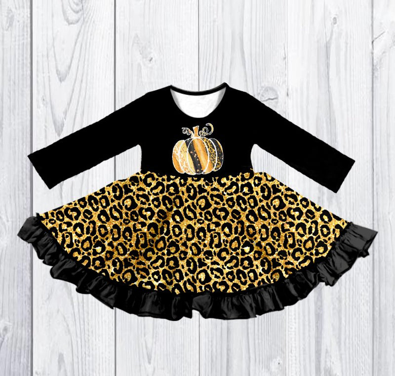 PUMPKIN LEOPARD SPARKLE TWIRLY DRESS - PREORDER