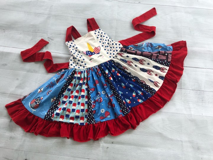PATRIOTIC UNICORN TWIRLY DRESS ff1