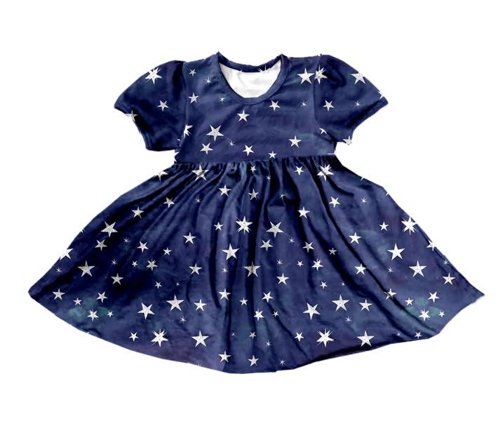 LADIES NAVY BLUE STAR DRESS - PREORDER