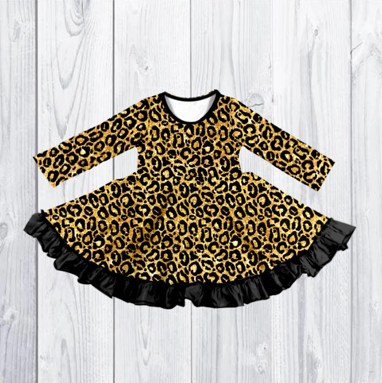 LEOPARD SPARKLE TWIRLY DRESS - PREORDER