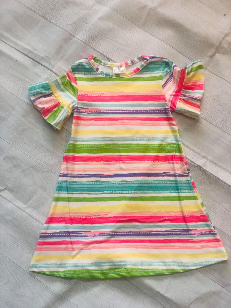 RAINBOW STRIPE MILK SILK DRESS