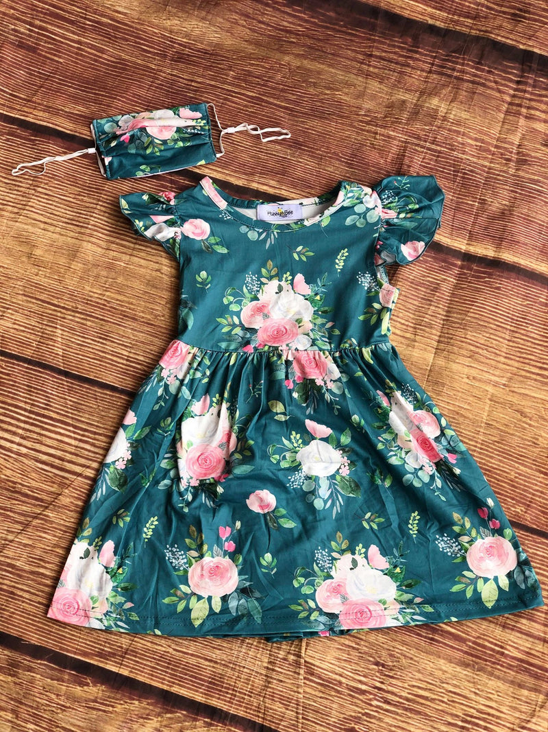 GREEN & PINK FLORAL MILK SILK DRESS