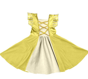 PRINCESS INSPIRED TWIRLY DRESS - YELLOW- PREORDER