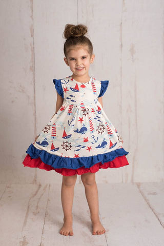 NAUTICAL WHALE FLUTTER DRESS