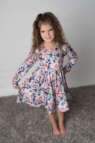 CHRISTMAS FLORAL TWIRL DRESS