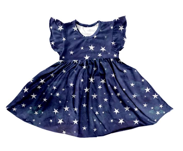 NAVY BLUE STARS TWIRL DRESS - PREORDER