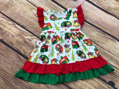 CHRISTMAS CAMPER FLUTTER DRESS