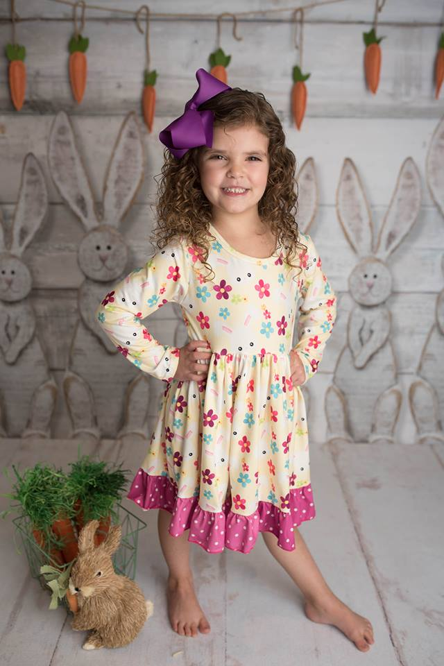 EASTER BUNNY MIA WITH POLKA TRIM DRESS