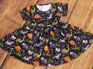 SPOOKY DINO TWIRL DRESS
