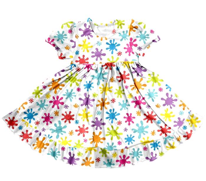 PAINT SPLATTER TWIRL DRESS - PREORDER