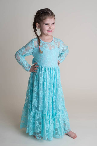 LACE MAXI DRESS - TURQUOISE