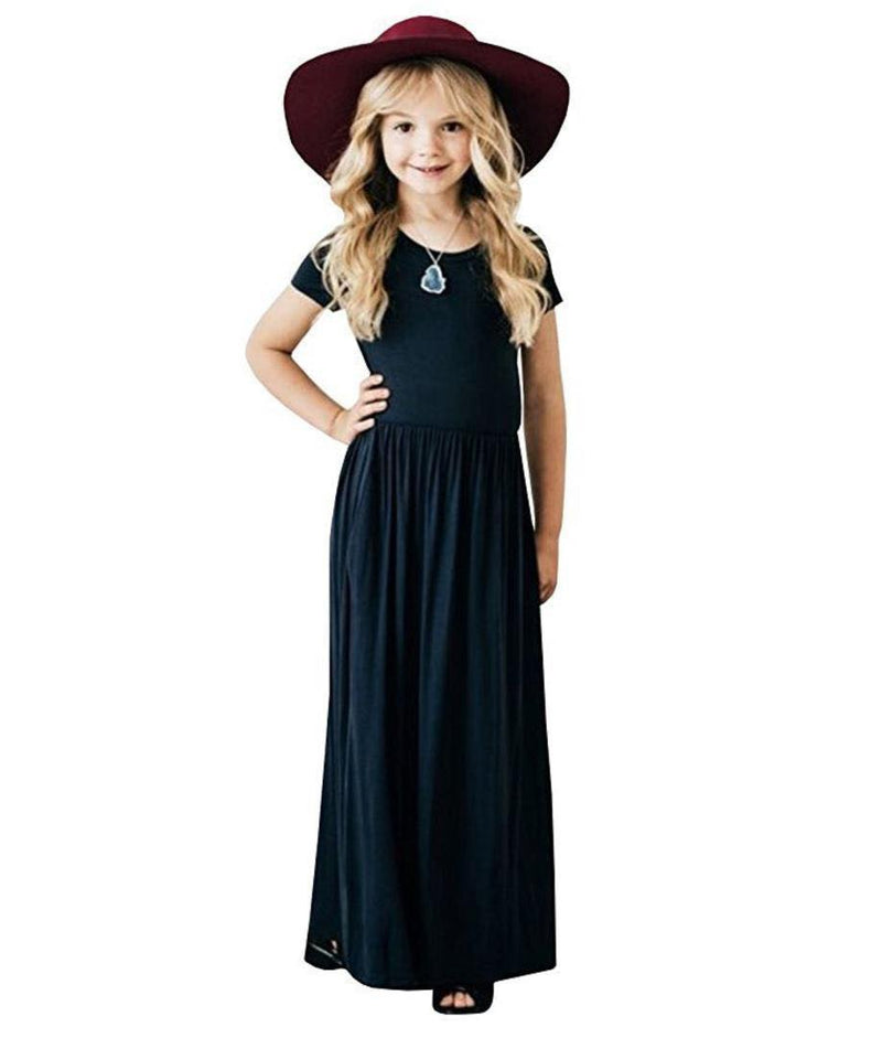 NAVY BLUE MAXI DRESS WITH POCKETS D1 -