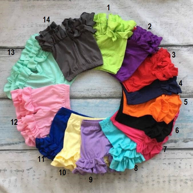 RUFFLE SHORTS 0/6 MONTHS - 3/4Y  - PREORDER  14 COLORS