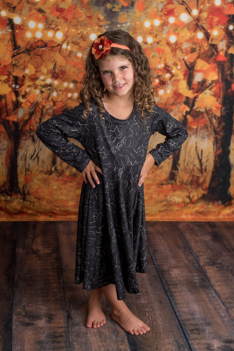 HARPER PUMPKIN TWIRL DRESS
