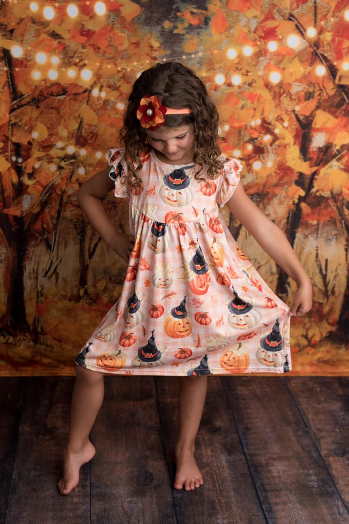 GINGHAM PUMPKIN PEARL DRESS