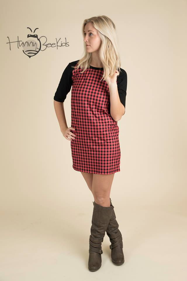 RED AND BLACK PLAID TUNIC DRESS