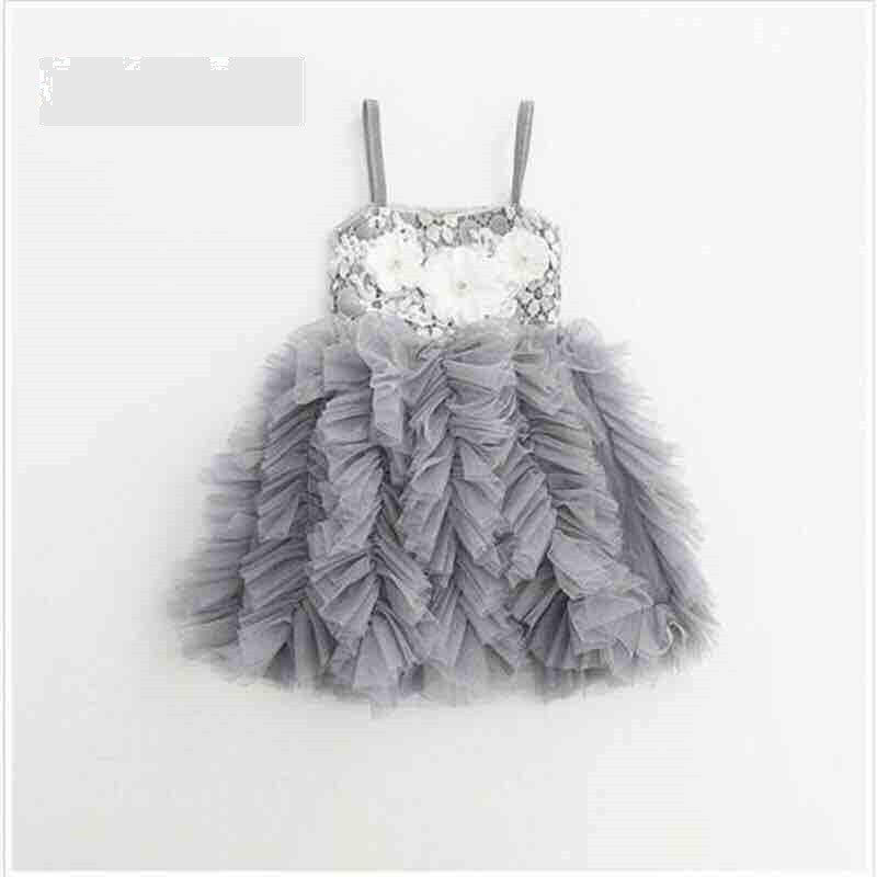 RUFFLES AND LACE DRESS - GREY