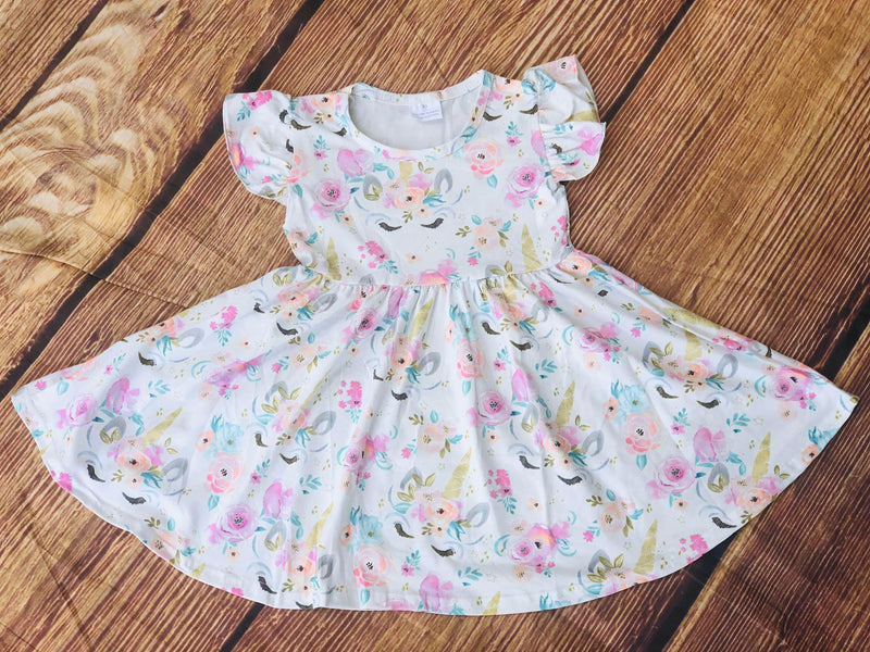 UNICORN FLORAL TWIRL DRESS