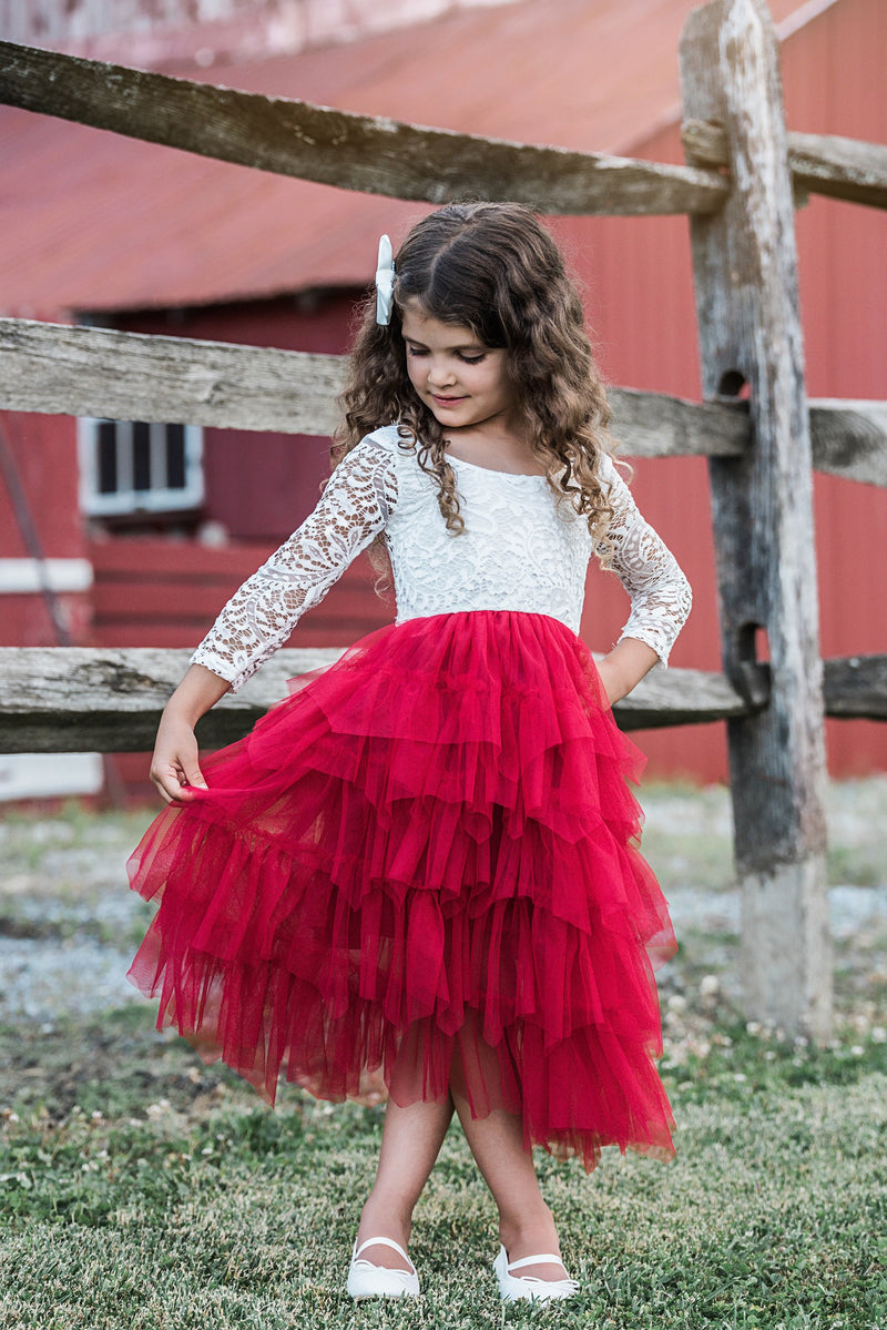 AURORA LACE AND RUFFLES MAXI DRESS - RED