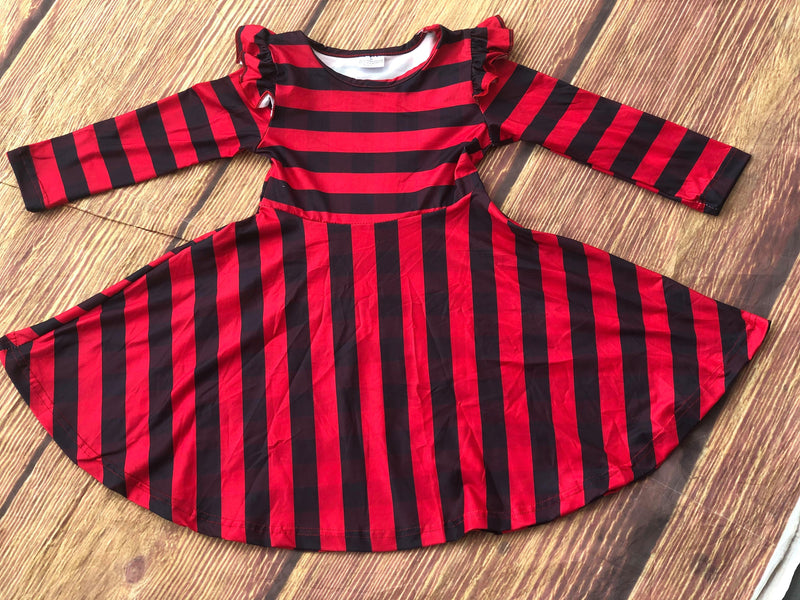 BLACK AND RED STRIPE DRESS