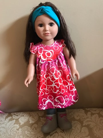 VALENTINE HEARTS PEARL DOLL DRESS