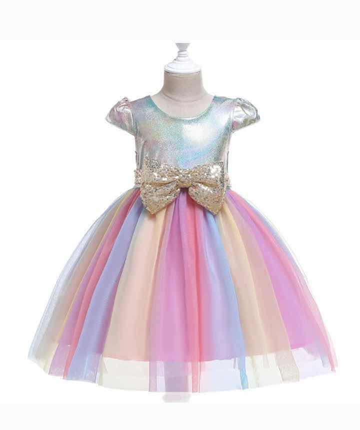 RAINBOW SPARKLE DRESS - PINK- PRESALE