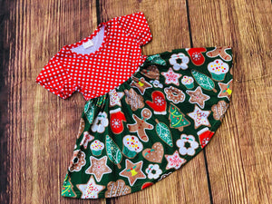 CHRISTMAS COOKIES TWIRL DRESS - PREORDER