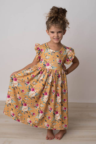 BAILEY MUSTARD FLORAL MAXI DRESS