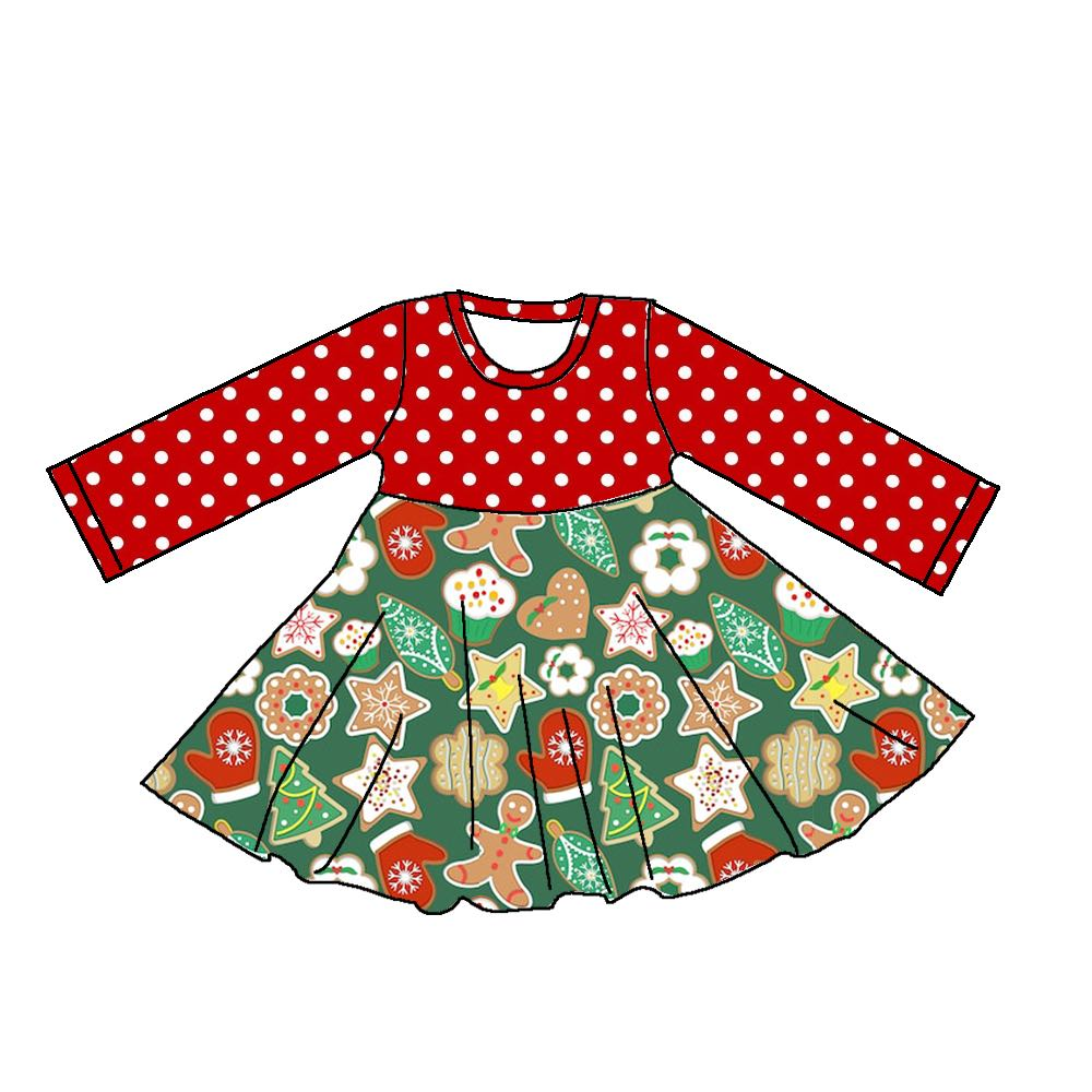 CHRISTMAS COOKIES LONG SLEEVES TWIRLY DRESS - PREORDER