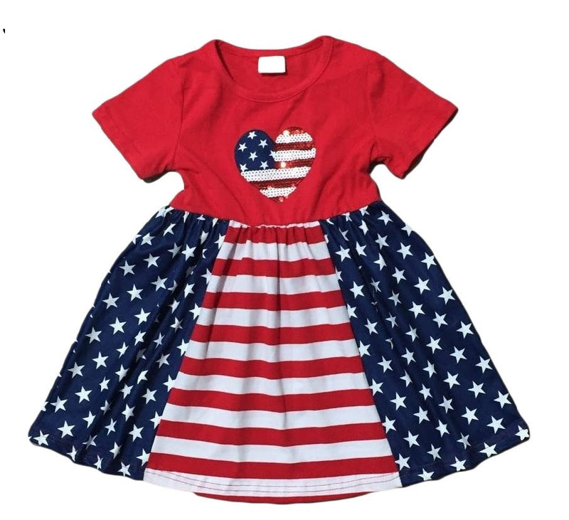 PATRIOTIC HEART SEQUINS DRESS INCLUDES FREE PURSE