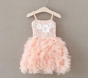 RUFFLES AND LACE DRESS - PEACH