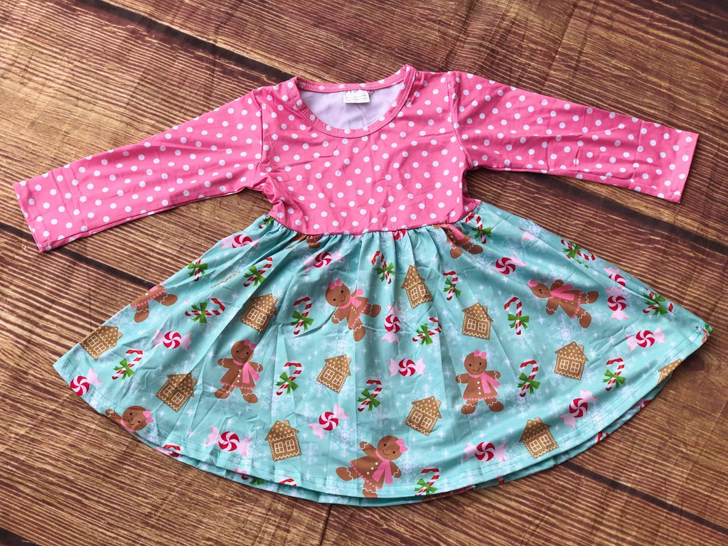 GINGERBREAD COOKIE HOUSE TWIRL DRESS