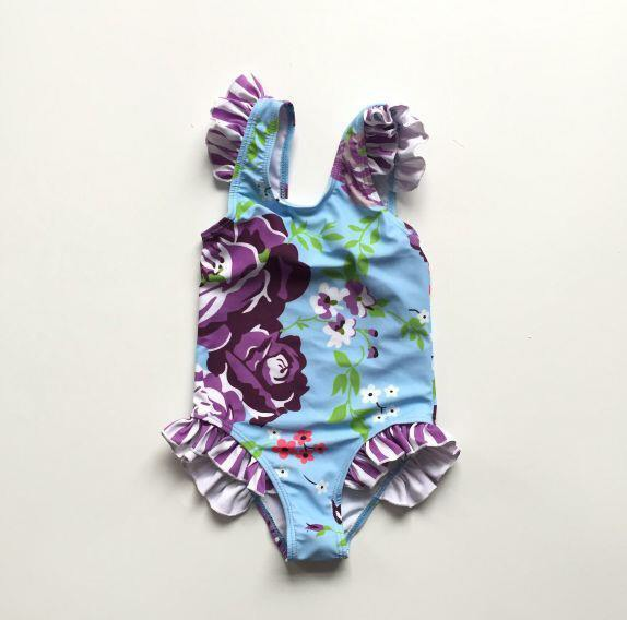FLORAL SWIMSUIT - PURPLE & TEAL