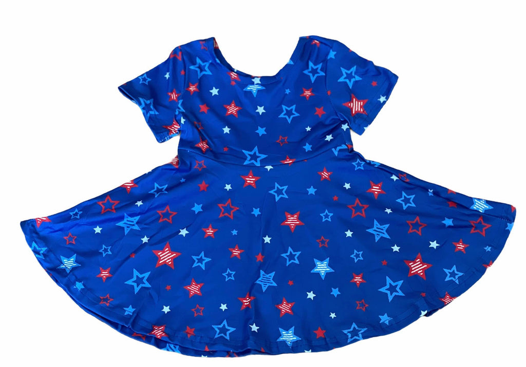 PATRIOTIC STAR TWIRL DRESS - BLUE