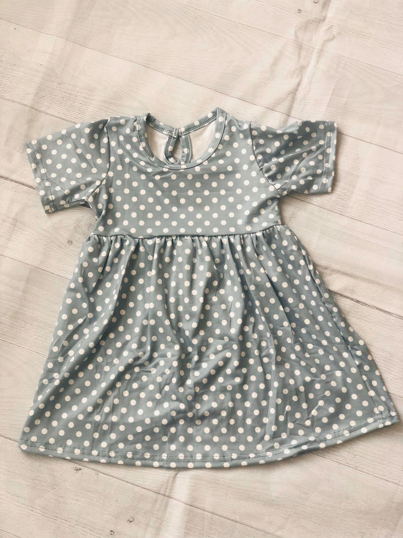 POLKA DOTS MILK SILK DRESS - GREY