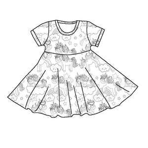 COLOR YOUR DRESS - UNICORN TWIRL  DRESS
