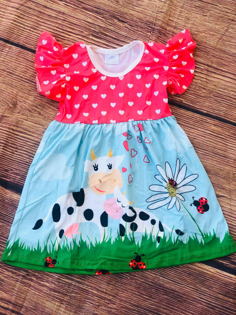 MOMMY & BABY COW  DRESS
