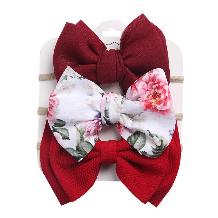 BURGUNDY FLORAL FLORAL SET OF 3 HEADBAND