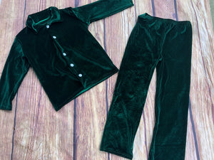 VELVET GREEN PAJAMA SET