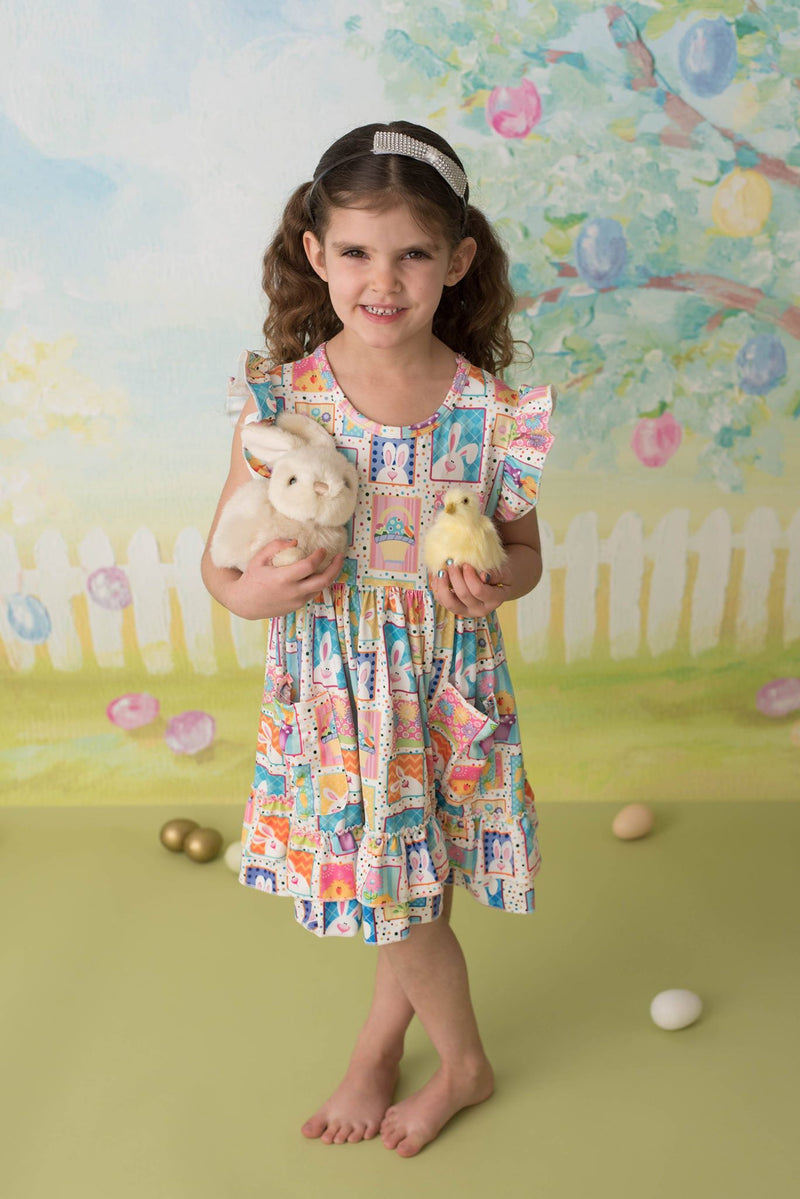 EASTER BUNNY & CHICK FLORAL RUFFLE DRESS
