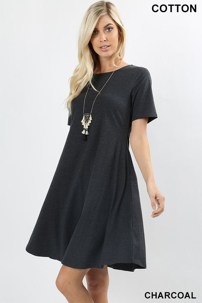 LADIES COTTON SHORT SLEEVE A-LINE DRESS - CHARCOAL