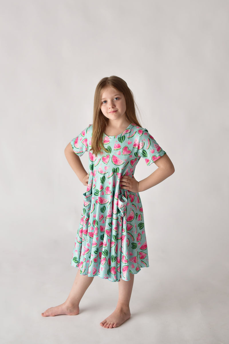 WATERMELON  TWIRLY DRESS WITH POCKETS