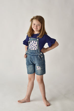 BASEBALL DENIM OVERALL SHORT SET