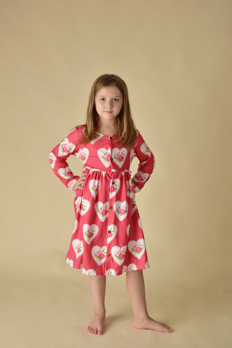 VALENTINE HEART FLORAL BUTTONED DRESS