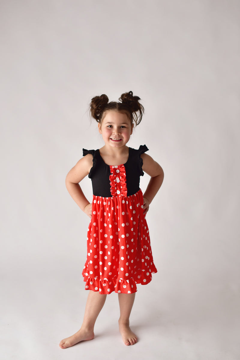 ONCE UPON A TIME TWIRLY DRESS - RED & WHITE POLKA