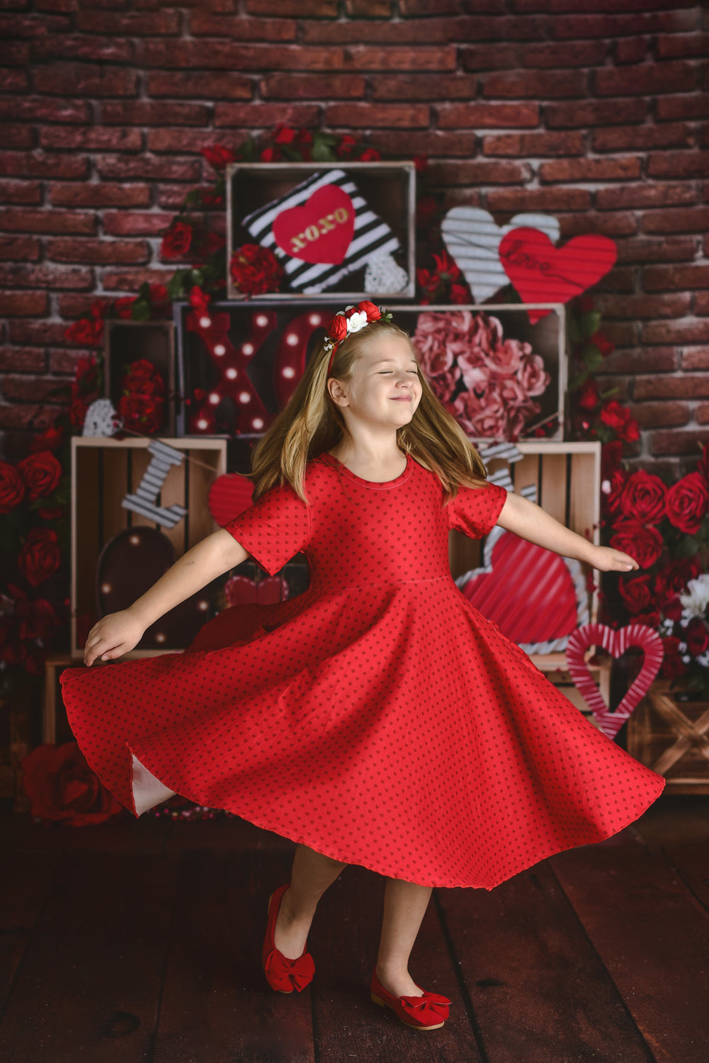 VALENTINE HEARTS RED TWIRL DRESS WITH POCKETS
