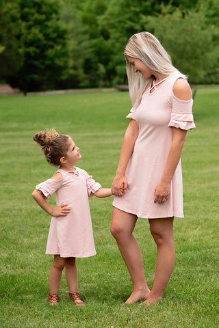MOMMY AND ME MATCHING DUST PINK TUNIC