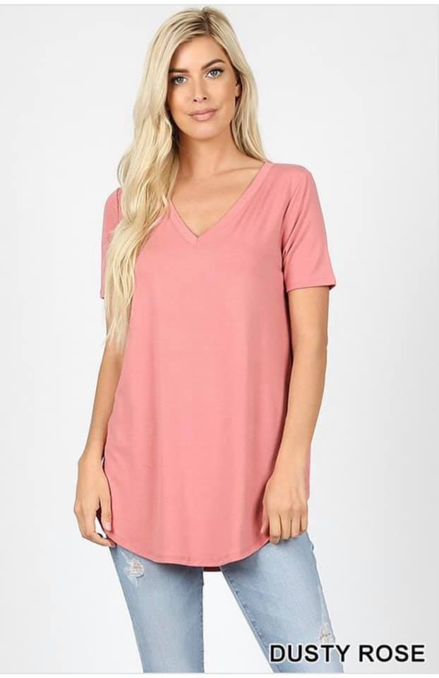 SHORT SLEEVE RELAXED FIT TOP - ROSE