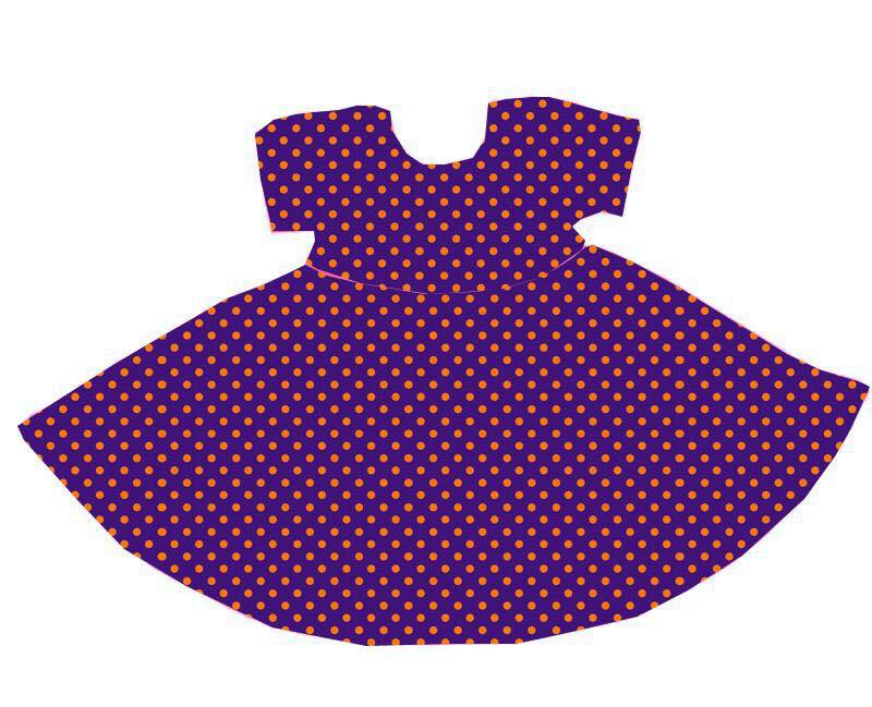 ORANGE/PURPLE POLKA DOT TWIRL DRESS WITH POCKETS - PREORDER E1